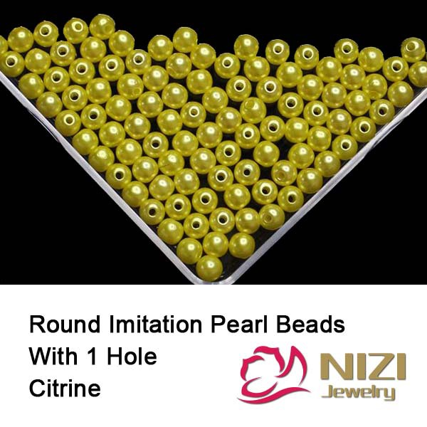 Фото Imitation Pearl Beads For Jewelry 6mm 8mm 10mm Citrine Resin Round Pearl Beads With Hole 100g/bag Perfect For DIY Decoration