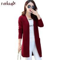 Fdfklak Wine Red/Gray Womens Sweaters Korean Cardigan Ladies Sweaters Autumn Long Sleeve Sweaters Women's Fashion Noveltie Q784
