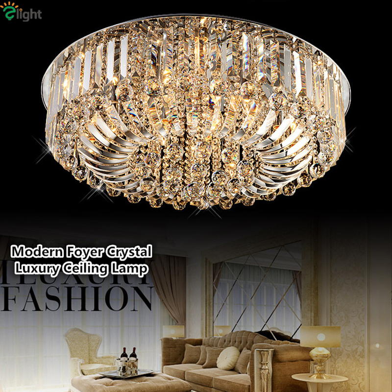 Foyer De luxe plaque moderne en acier chromé Led Dimmable plafonnier Dia60/80 cm Lustre De Cristal salon E14 plafonnier