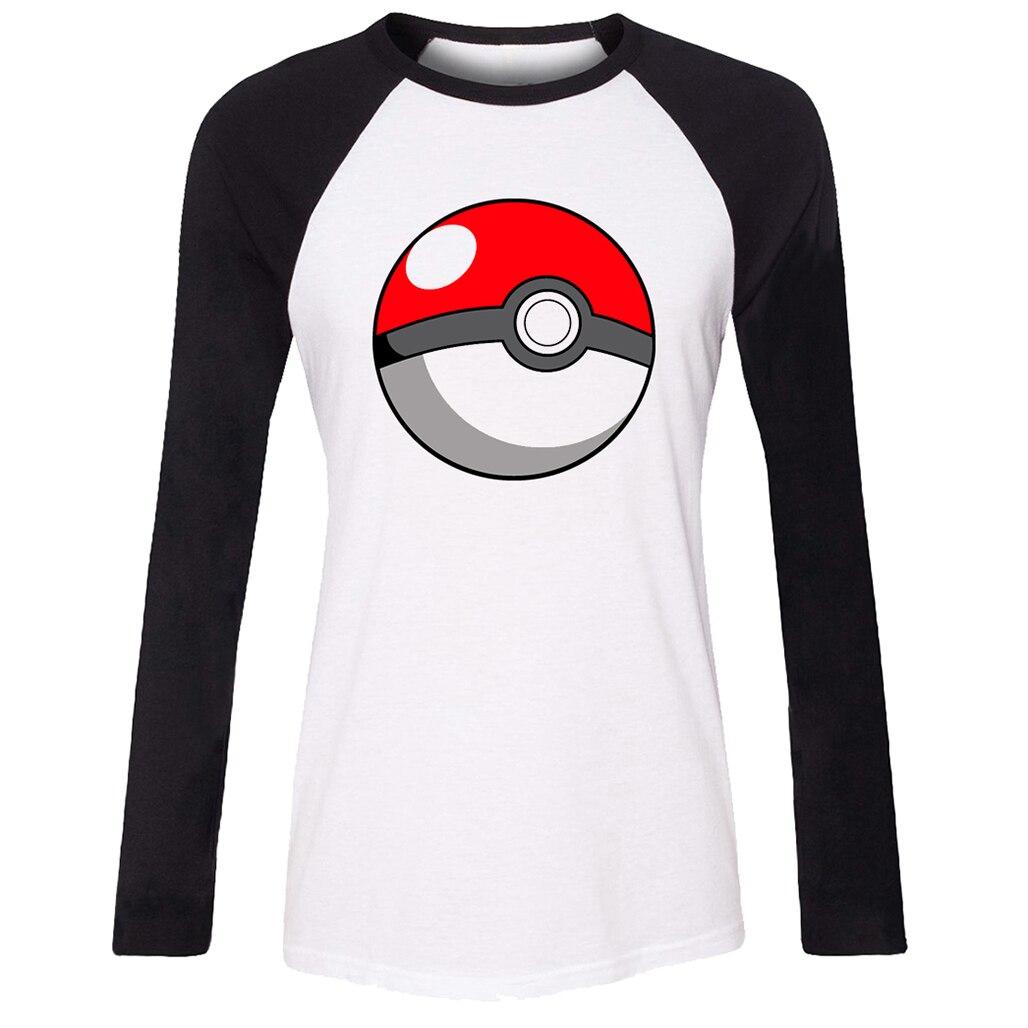 Women t shirt japanese classic font b anime b font pikachu pokemon poke ball pokeball pattern