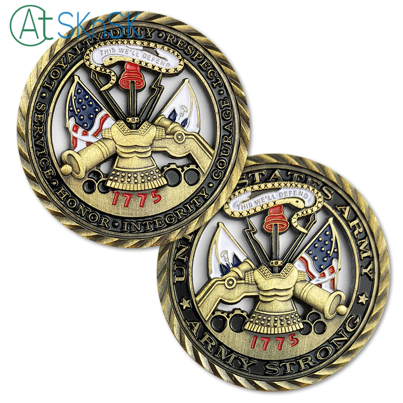 New Arrival Coin 1/3/5/10pcs U.S. Army Core Values Challenge Coin Military Soldier Unit Medallion Cutout Souvenir Coins for Gift