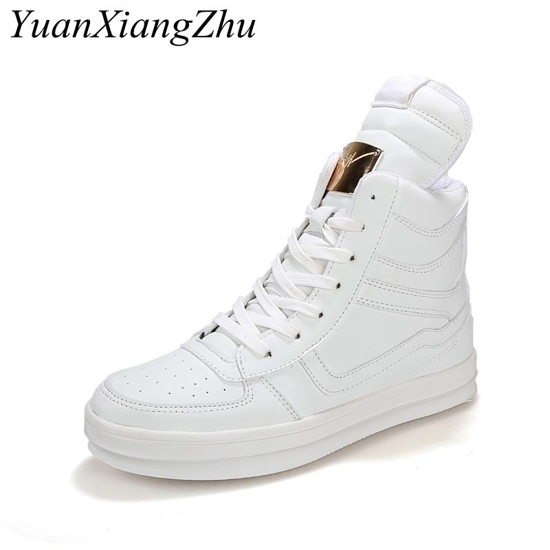 Ayakk.'ten Erkek Rahat Ayakkabılar'de Beyaz Erkekler Yüksek Top Ayakkabı Erkek Ayakkabı Rahat Moda Ayakkabı Lüks Marka Su Geçirmez deri ayakkabı Erkek Botları Artı Boyutu 45'da  Grup 1