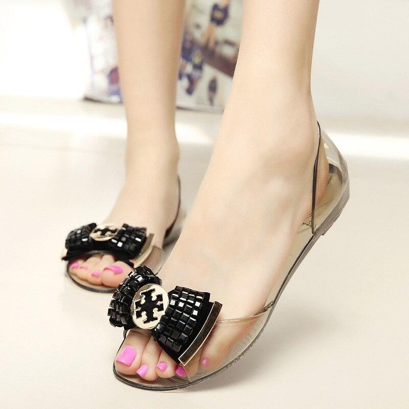 244c81c6a42ff Women Sandals Bling Bowtie Jelly Shoes Fashion Peep Toe Flat Sandals Shoes  Woman 2 Colors