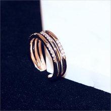 Новинка 2017 женское модное Открытое кольцо розовое золото металлическое