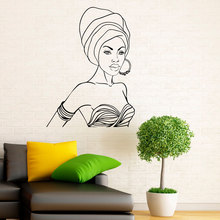 Africa Girl Decal Vinyl Wall Stickers Home Decor For Living Room African Beautiful Woman Interior Design Art Murals Bedroom 3231