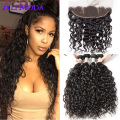 Brazilian Virgin Hair Water Wave With Frontal Pre Plucked Water Wave Frontal With Bundles Human Hair Weave Brazilian Water Wave