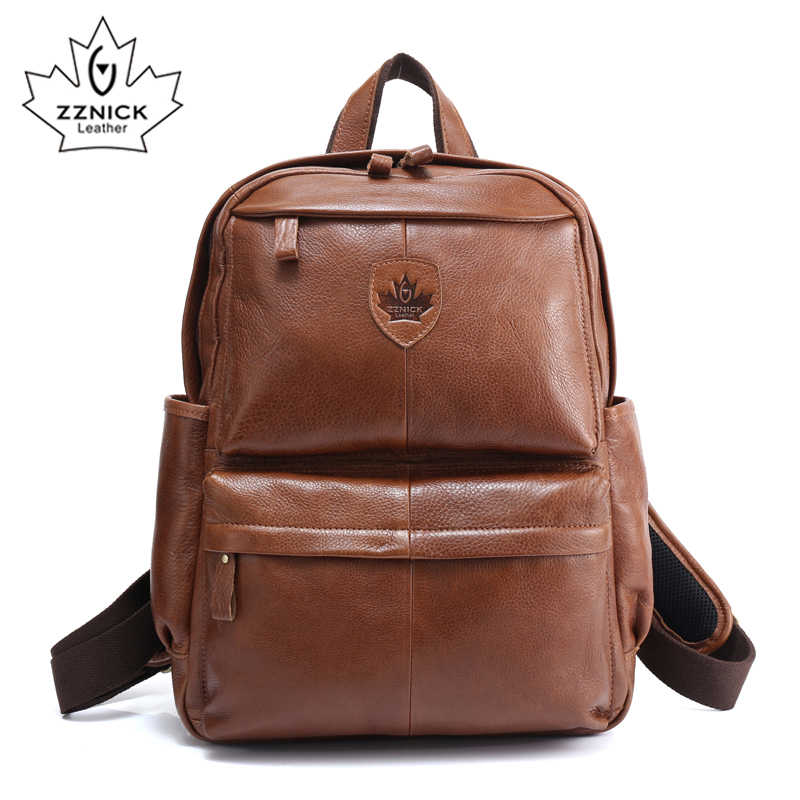 ZZNICK Top Quality Cowhide First Layer Knapsack Male Computer Bag School Bags Vintage Genuine Leather Rucksack Men Backpack 3912