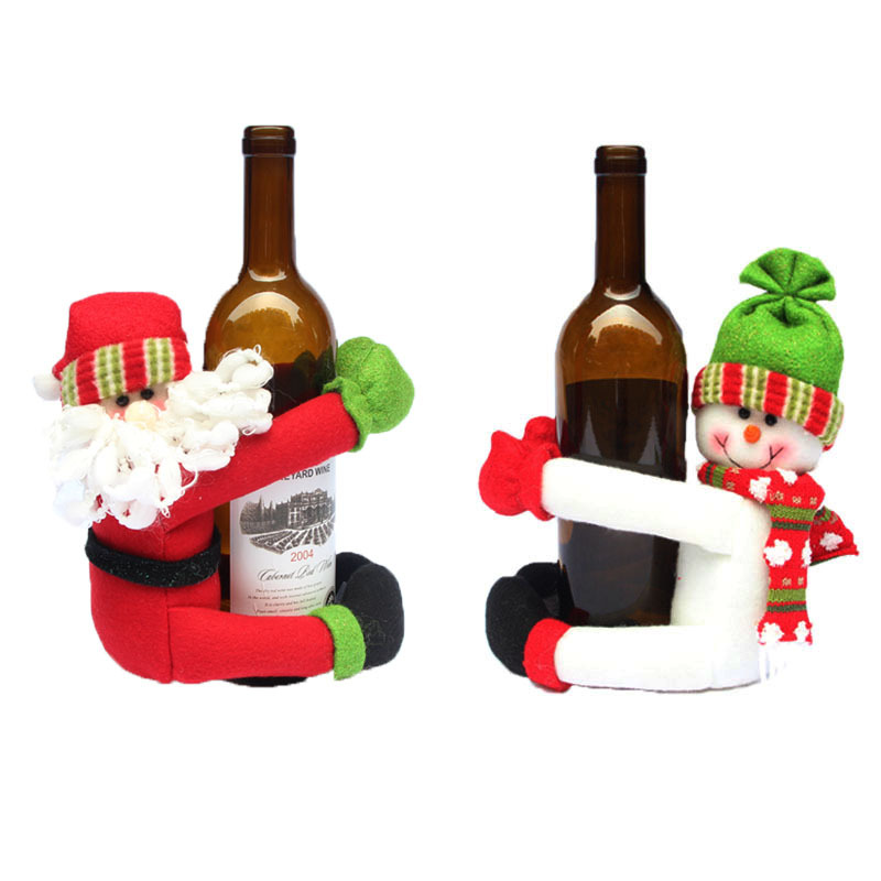 Bottle Christmas Decoration: Red Wine Bottle Cover Santa Claus Snowman Home Christmas