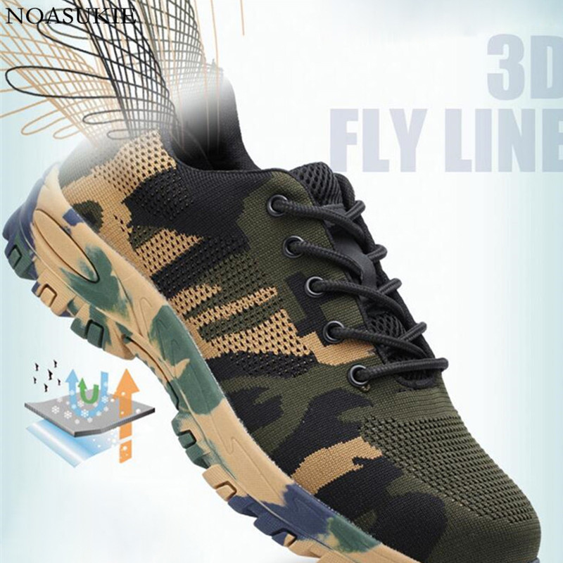 Summer Men Mesh Camouflage Safety Shoes Breathable Lightweight Tennis Work Shoes Sneakers Anti Smashing Puncture Steel