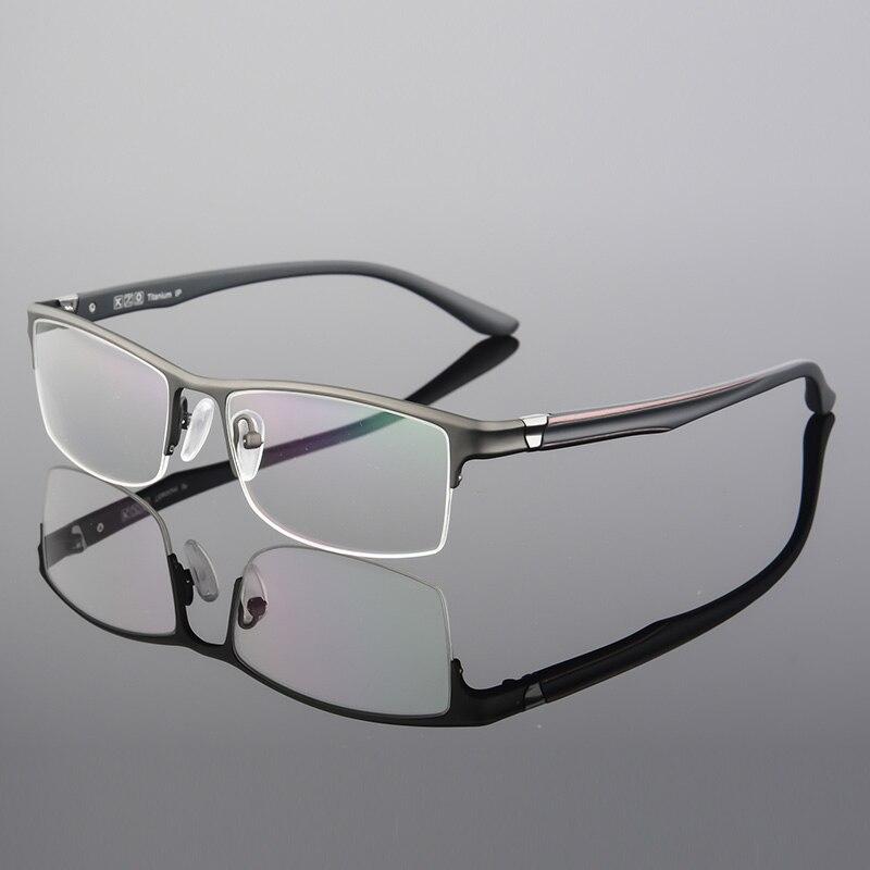 XINZE Pure Titanium Eyeglasses Half Rim Optical Frame Prescription Spectacle Frameless Glasses For Men Eye glasses Slim Temple