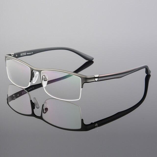 1ffb7d41bd7 XINZE lunettes de vue en titane pur demi-jante monture optique Prescription  lunettes sans cadre