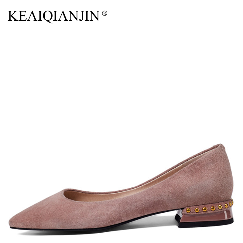 KEAIQIANJIN Woman Genuine Leather Flats Plus Size 33 - 43 Spring Autumn Shoes Black Red Pink Casual Metal Decoration Loafers keaiqianjin woman genuine leather brogue shoes spring autumn black white flats lace up genuine leather loafers lazy shoes 2017