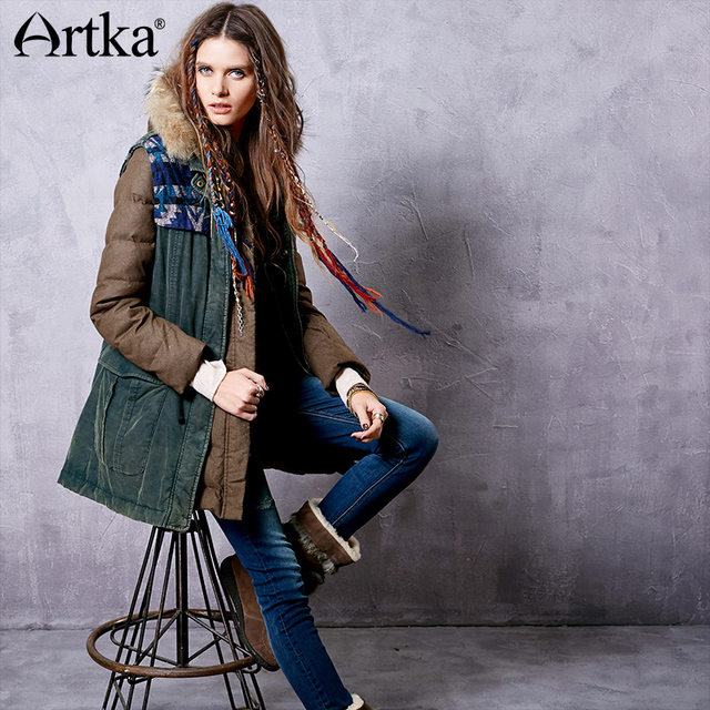 Artka Winter Parka Female Two-Piece Jacket Drawstring Waist Down Coat Women Hooded Raincoat Woolen Waistcoat Outerwear ZK13643D