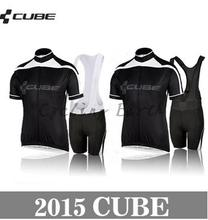 High Quality,CUBE 2015 #1 short sleeve cycling jersey bib shorts set clothes jersey pants,gel pad,3D Silicone!