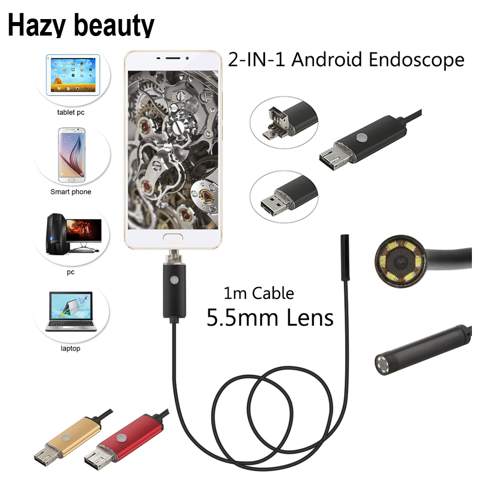 Hazy beauty 5.5mm Android USB Endoscope Camera Flexible Snake Tube Inspection Smart Android Phone OTG USB Borescope Camera 6LED 7mm 2in1 android pc usb endoscope camera 2m smart android phone otg usb borescope snake tube inspection came 6led
