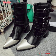 2017 Winter Sexy Pointed Toe Women Boots Med Heels Riding Equestrian Women Shoes Metal Decoration Mixed Color Ankle Women Boots