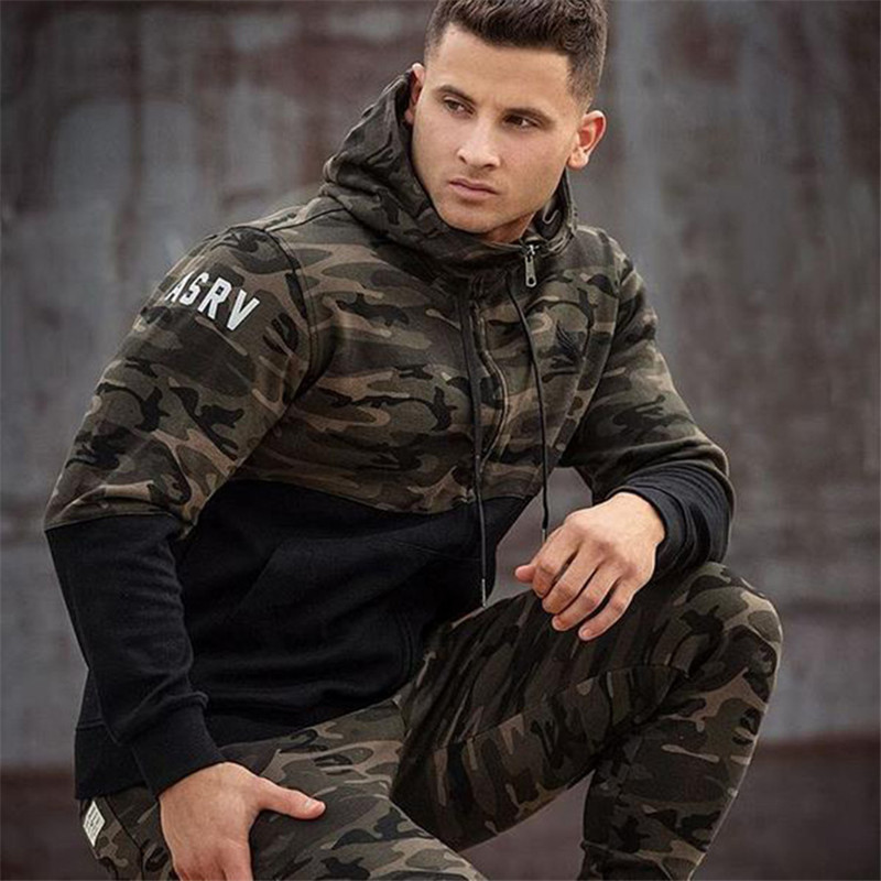 2016 New Fashion Hooded Sweatshirts autumn and Men s hoodie military camouflage stitching casual coat size