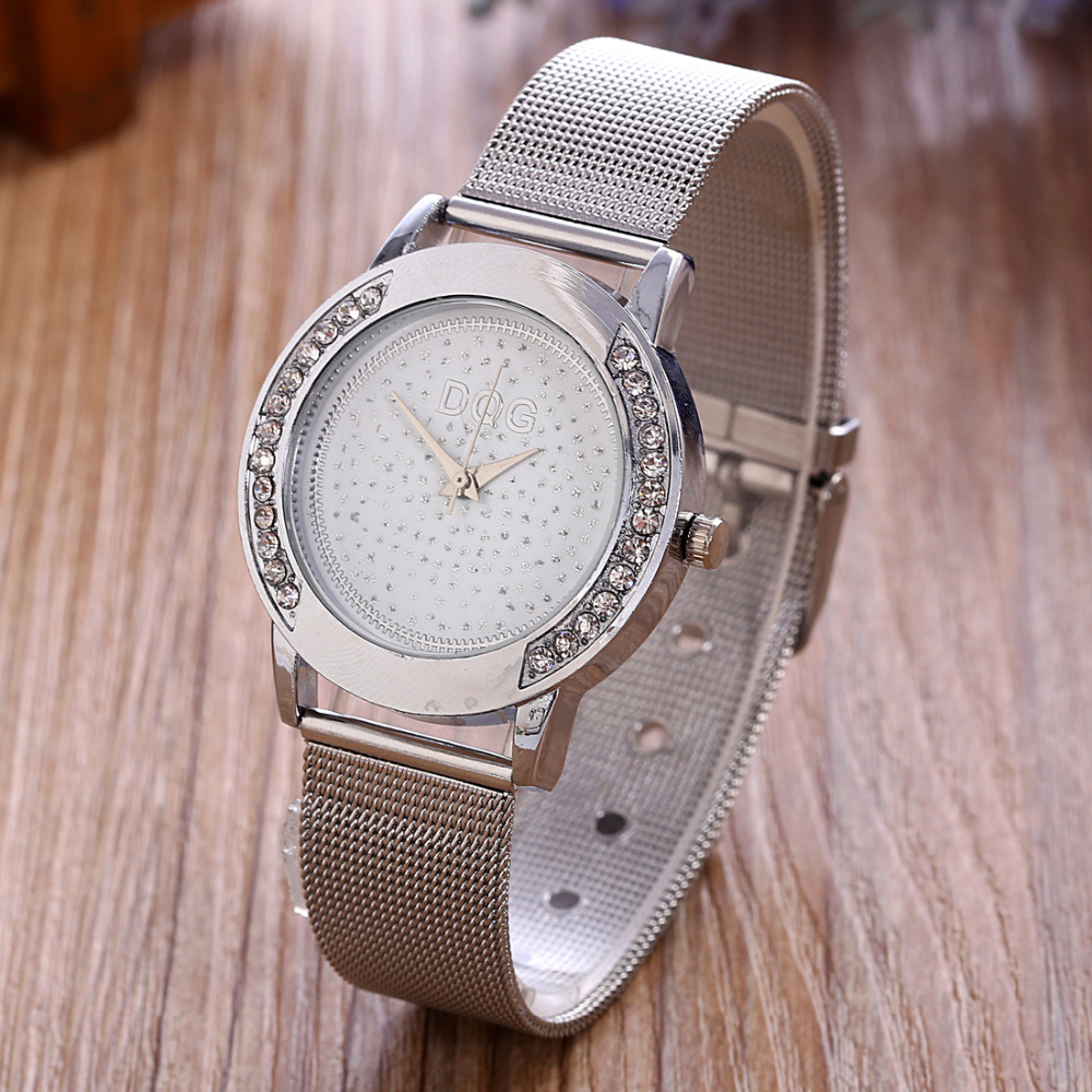 New Brand DQG Gold Metal Mesh Stainless Steel Women Watches Crystal Casual Quartz Watch Women Clock Relogio Feminino Hot sale 2016 new brand gold geneva butterfly casual quartz watch women crystal stainless steel dress watches relogio feminino clock hot