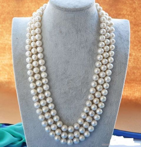 50 10-9 MM SOUTH SEA NATURAL White PEARL NECKLACE GOLD CLASP50 10-9 MM SOUTH SEA NATURAL White PEARL NECKLACE GOLD CLASP
