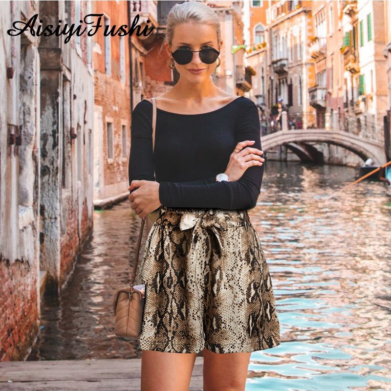 Summer Women Leopard Printed Shorts Casual Female High Waist Snake Print Shorts Serpentine Loose Bermuda Wide Leg Shorts Female