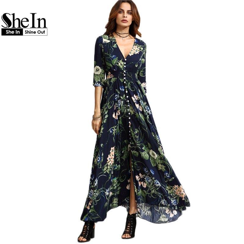Shein largo maxi floral dress boho largo dress elegante playa azul marino Floral