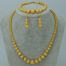 Collar de cuentas Pendientes Pulsera set Joyería de Las Mujeres Collares De Bolas de Oro de África/Árabe/Oriente medio/Etíope sets #006302