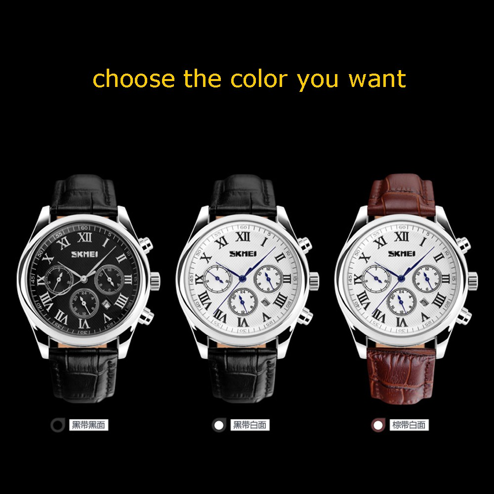 Fashion With Box Casual Skmei Watches Leather Business Waterproof Quartz Men s
