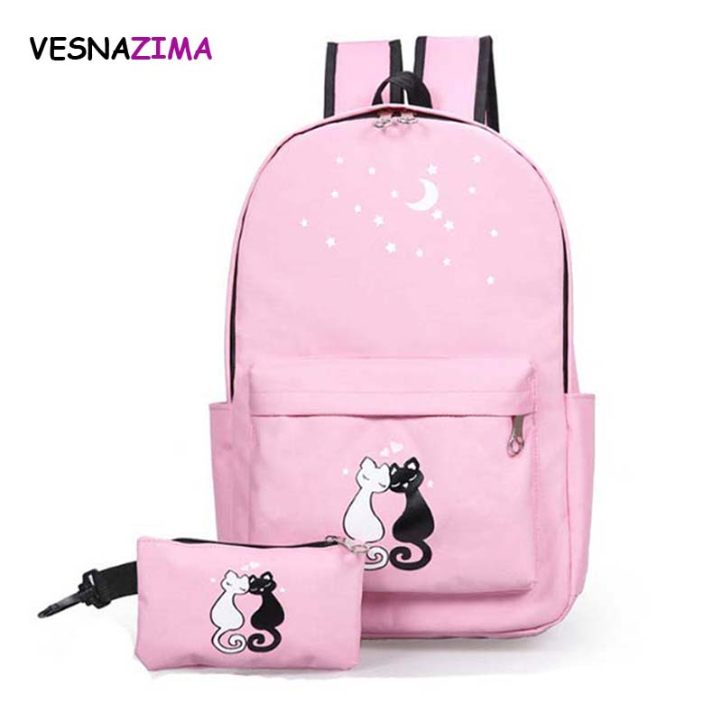 Vesnazima 2 Pcs/set Women Backpacks Cute Cat School Bag for Teenage Girls Printing Canvas Backpack Ladies Shoulder Bags WM232Z hynes eagle 3 pcs set 3d letter bookbag boys backpacks school bags children shoulder bag mochila girls exo printing backpack