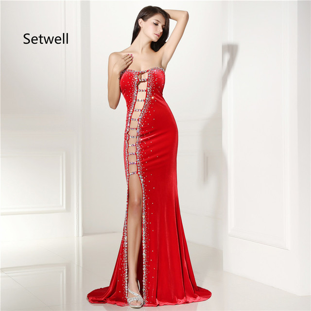 94c7ae9e361f Setwell Sexy Red Side Split Prom Dresses New Design Charming Strapless  Backless Prom Dress High Quality Mermaid Evening Gowns