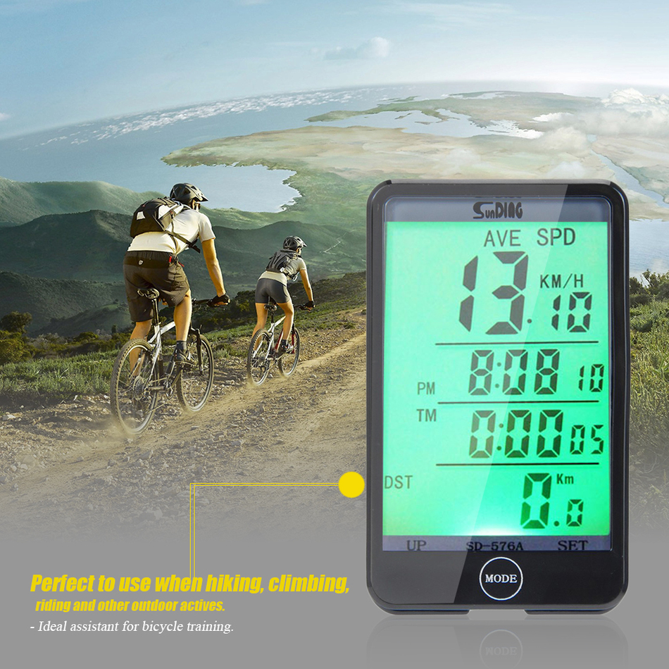 576A Light Mode Touch Wired Bicycle Computer Speedometer with Line Control SD