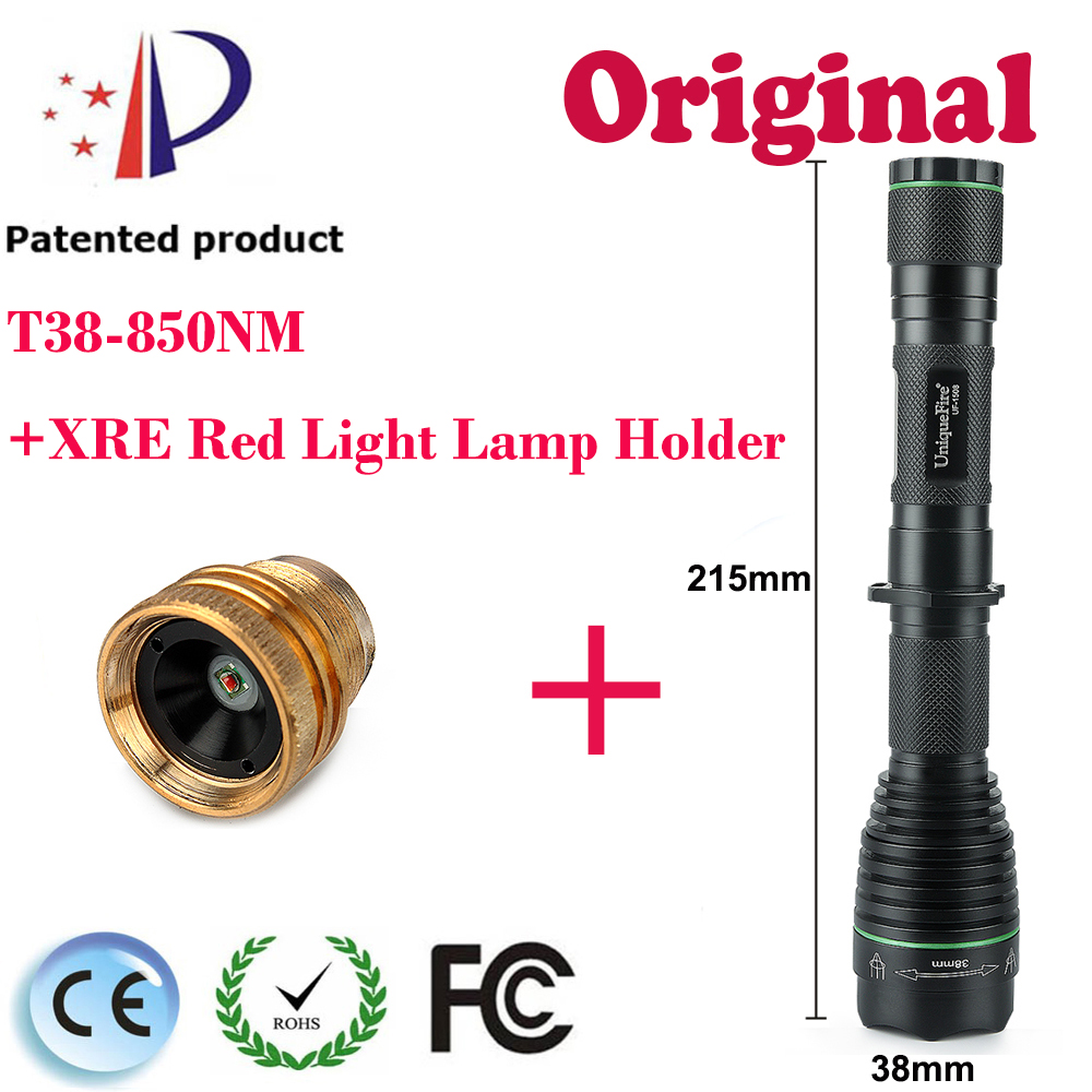 UniqueFire UF-1508 T38 Zoomable Flashlight Torch IR850nm LED Brass Pill Night Hunting Flashlight+XRE Red Light  Lamp Holder uniquefire uf 1200 super bright cree u2 lamp flashlight light from outdoor hiking night fishing hunting led flashlight