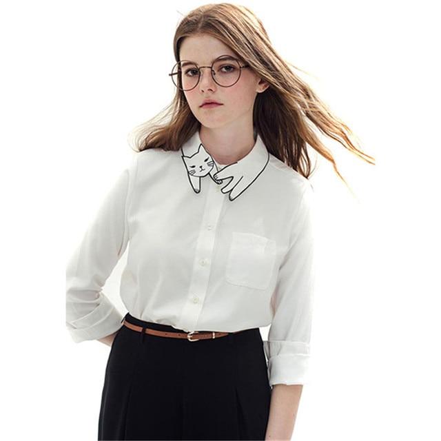 Cute Cat Embroidery Collar Blusa Feminino 2016 Spring Vintage White Blouse Long Sleeve Shirt Women Tops Tees Chemise Femme