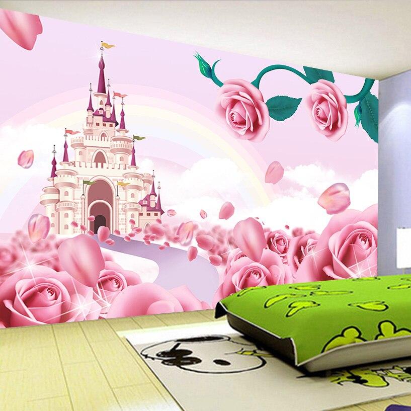 Personalizado foto papel de parede para paredes 3 d rosa castelo dos desenhos animados princesa quarto das crianças não-tecido papel de parede mural crianças