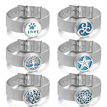 New Aromatherapy Bracelet Jewelry Stainless Steel Essential Oil Diffuser Lotus Aroma Dropshipping