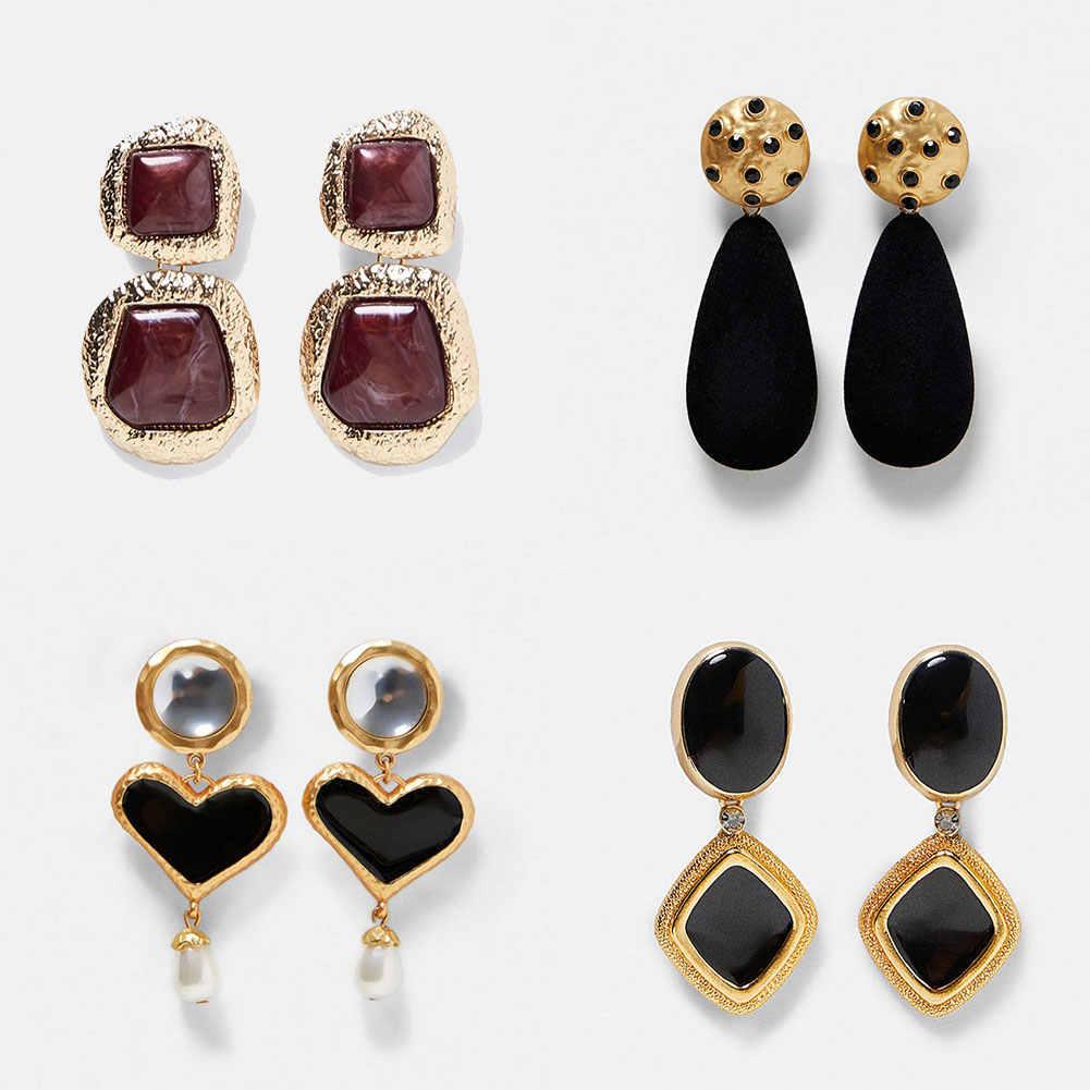 ZA หัวใจคริสตัล DROP Dangle ต่างหูสำหรับผู้หญิง Boho Geometric Golden งานแต่งงาน Punk ต่างหูยาวเครื่องประดับ VINTAGE