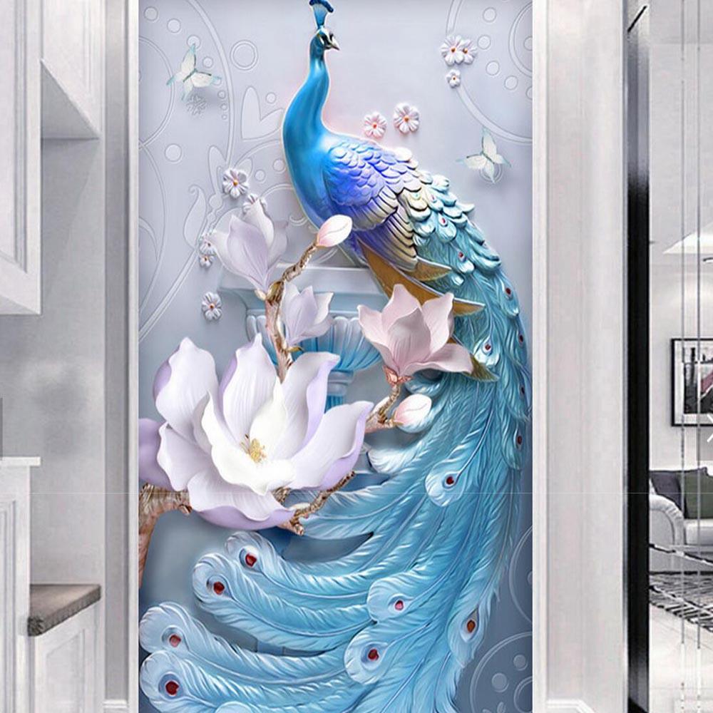 High quality embossed peacock flower hallway mural murales for Murales de pared