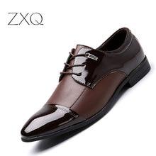 ZXQ Plus Size 38-47 Men Business Casual Shoes Men Falts Oxford Dress Shoes For Men High Quality Men Leather Shoes