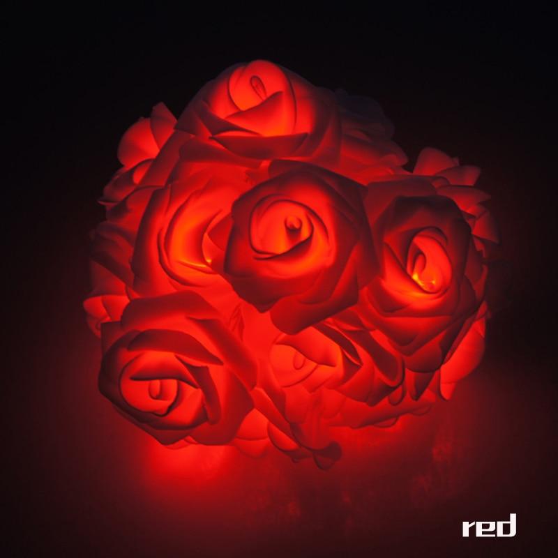 Garland 20pcs / set Rose Flower Fairy luces decorativas lampu tali - Pencahayaan perayaan - Foto 2