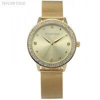 Taylor Cole Golden Dial Round Quartz Relogio Feminino Crystal Bezel Mesh Strap Bracelet Slim Lady Female