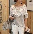 New 2014 sweet lace cutout shirt women handmade crochet cape collar batwing sleeve medium-long t shirt Free Shipping