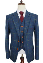 Wool Blue Ckeck Tweed Custom Made Men suit Blazers Retro tailor made slim fit wedding suits for men 3 Piece cheap BD tailormade skinny Zipper Fly 3 pieces(Jacket Pant Vest) Single Breasted England Style men suit 001 Retro gentleman British style