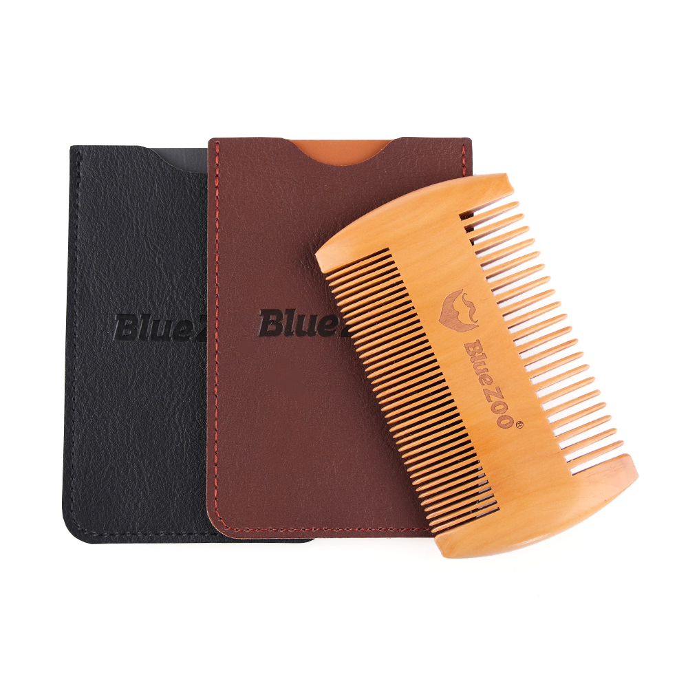 1 Pcs Double Side Wooden Beard Comb Anti Static Pocket Comb With Fine Coarse Teeth Hair Mustaches Brush Fashion Comb Bag