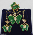 Envío libre @ @ Hermosa verde jade mariposa conjunto de joyas