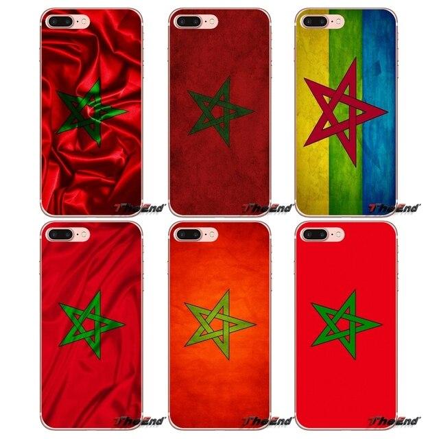 TPU Shell Nắp Cho iPhone X 4 4 S 5 5 S 5C SE 6 6 S 7 8 Cộng Với Samsung Galaxy J1 J3 J5 J7 A3 A5 2016 2017 Maroc Morocco Cờ Banner