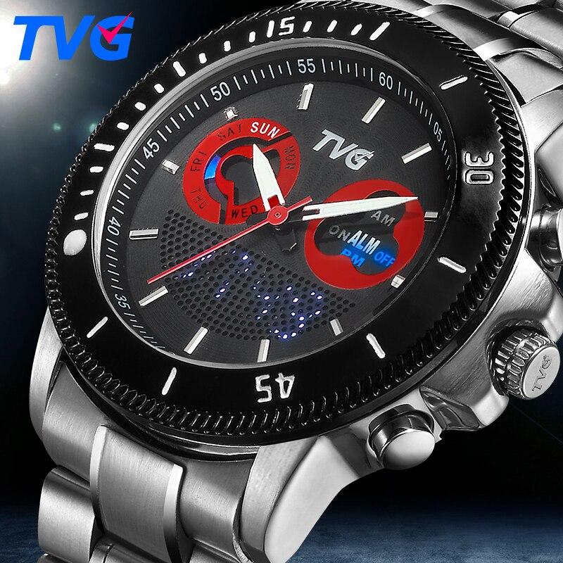 2696859d517 Masculino relógios de Marca de luxo TVG Sports relógio de Pulso Para Homens  de Aço Inoxidável à prova d  água relojes exibição Dual Time Analógico  Digital ...