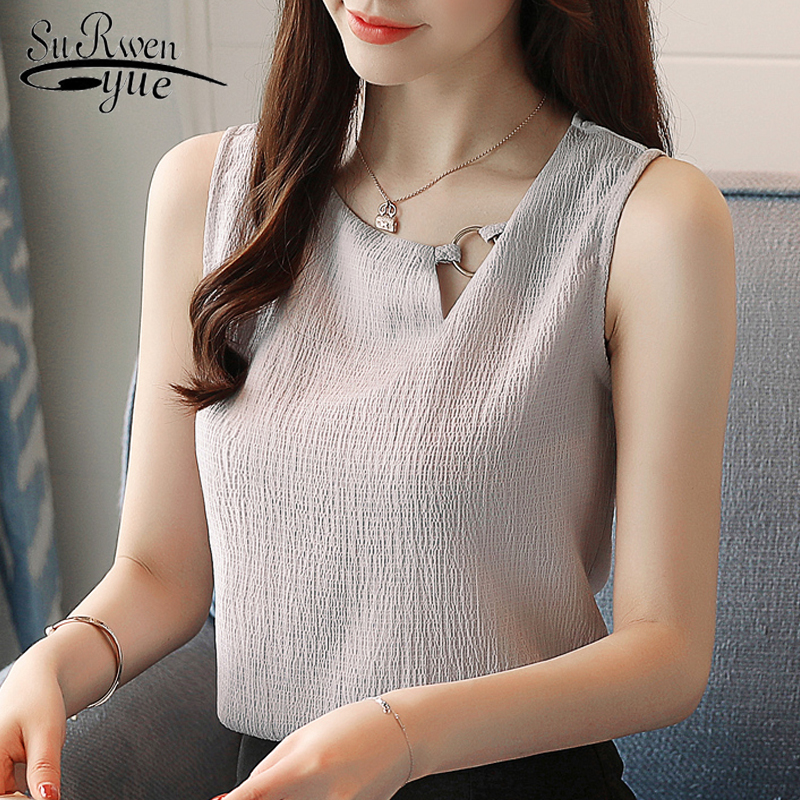 Fashion Feminine Blouses Chiffon Women Blouse Shirt Sleeveless Summer Ladies Tops Blusas Sexy Chiffon Blouse Women Shirt 0266 40