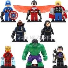 SY161 8pcs/lot Marvel Falcon Black Widow Figure Thor Hulk Nick Fury Building Blocks Sets Model Bricks Toys For Children