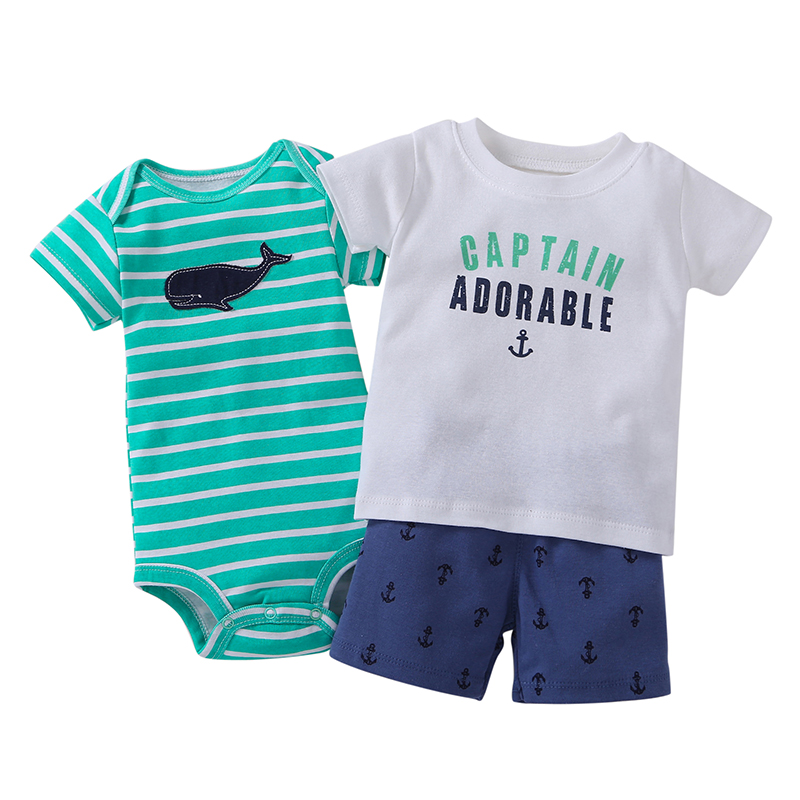 Summer Baby Boy Girl Clothes Set Letter T Shirt Tops+rompers+shorts Infant Clothing Newborn Babies Suit New Born Outfit Costume