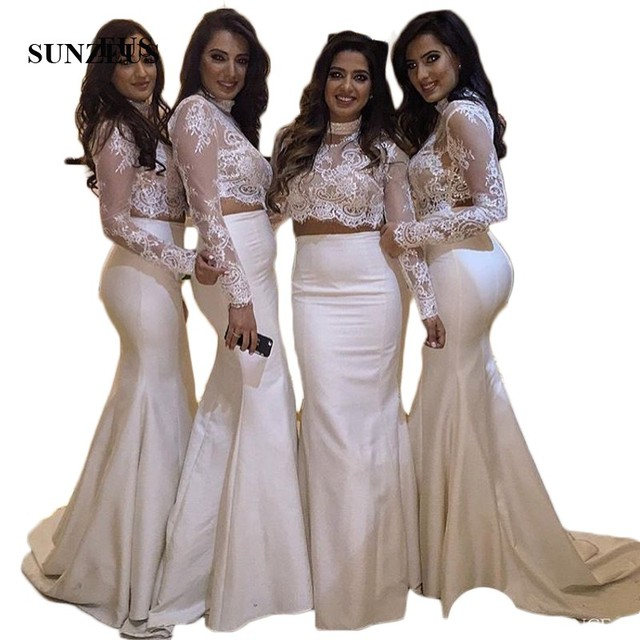 Mermaid 2 Piece Bridesmaids Dresses High Neck Long Sleeve Lace Top Long Taffeta Wedding Party Dress SAU919