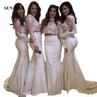 Mermaid 2 Piece Bridesmaids Dresses High Neck Long Sleeve Lace Top Long Taffeta Wedding Party Dress SAU919